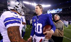 EAST RUTHERFORD, NJ - DECEMBER 11:  Eli Manning #10 of the New York Giants shakes hands with Dak Prescott #4 of the Dallas Cowboys after their game at MetLife Stadium on December 11, 2016 in East Rutherford, New Jersey.  The New York Giants defeated the Dallas Cowboys with a score of 10 to 7.  (Photo by Al Bello/Getty Images) ORG XMIT: 681235673 ORIG FILE ID: 629237128