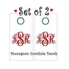 Vine Monogram Cornhole Vinyl Decals Set of 2 For Weddings Gifts Personalized For Free Select Color - WrenGifts