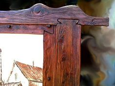 Rustic' Old Riga Tavern Window' painting. Hand painted. Oil on canvas. Hand carved cedar frame. New wood hand carved in rustic style. Natural wood finish.  I create different one of a kind art furniture, design and decor. Check out my website and Houzz page! bezaleel-workshop.yolasite.com/ www.houzz.com/pro/bezaleel-orthodox/valter-fon-eynik