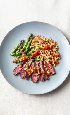 Smoky Romesco New York Strip Steak Recipe Chef Recipes, Steak Recipes, Cooking Recipes, Healthy Recipes, Sauce Recipes, New York Strip Steak, Lunches And Dinners, Meals, Hello Fresh Recipes