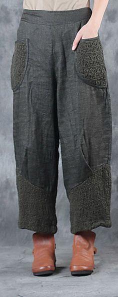 $89.00-army green linen patchwork pants plus size women crop pants
