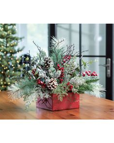 Buy Winterberry Frost Artificial Holiday Centerpiece at Petals / OfficeScapesDirect Office Scapes Direct Christmas Flower Arrangements, Christmas Flowers, Christmas Holidays, Christmas Wreaths, Christmas Planters, Christmas Table Decorations, Decoration Table, Deco Table Noel, Winter Centerpieces