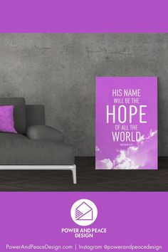 His name will be the hope of all the world Matthew 12:21 The beams of light shining from behind the clouds in this lavender religious wall art remind us to look heavenward for the source of our true hope: Jesus Christ. #purple #purpleart #lavender #lavenderart #Matthew #Matthew12 #hope #hopequote #Christian #Bible #Bibleverse #Scripture #Jesus Lavender Decor, Lavender Walls, Scripture Wall Art, Bible Verse Art, Purple Art, Purple Walls, Purple Furniture, Purple Home Decor, Nurseries