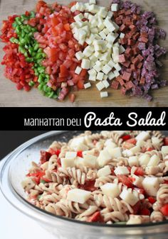 Manhattan Deli Pasta Salad is packed with hunks of asiago cheese, salami, pepperoni, and tons of fresh veggies.