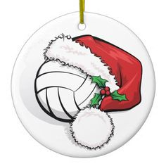 Happy Holiday Volleyball Christmas Ceramic Ornament