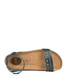Lima navy leather laser-cut sandals Sale - Uma