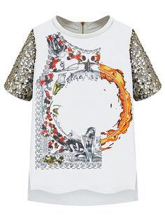 White Round Neck Short Sleeve With Bead Vintage T-shirt   Choies