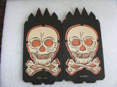 Vintage Halloween Ephemera ~ Cardboard Halloween Skull Crossbones Luminary Lantern 4 Sided * Circa, 1930'S