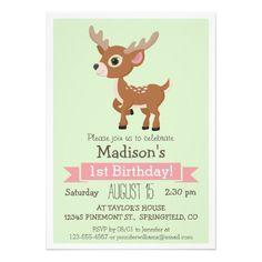 "Woodland Baby Deer, Fawn Birthday Party Invitation 5"" X 7"" Invitation Card"