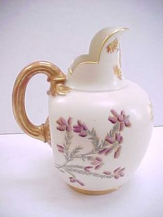 Antique 19c 1890's Royal Worcester Porcelain Hand Painted Pitcher | eBay
