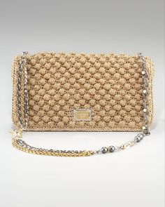 Dolce & Gabbana Miss Charles Crochet Bag in Beige (black) | Lyst