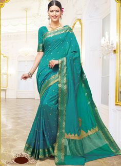 Fab Teal Color Silk Saree