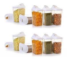 Avadh Products Cereal Dispenser Easy Flow Storage Jar 1500 ml 12 Pcs Set Storage Containers for Kitchen, Idle for Kitchen- Storage Box Lid Food Rice Pasta Pulses Container Kitchen Container Set, Container Size, Kitchen Storage Containers, Jar Storage, Container Dimensions, Cereal Dispenser, Snack Containers, Flow