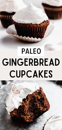 Paleo gingerbread cupcakes are the perfect holiday recipe. Gingergread desserts are fun and easy to make. These healthy gingerbread cupcakes are made with almond and coconut flour and are dairy and gluten free. These homemade gingerbread cakes are topped with a maple meringue frosting. Gingerbread dessert recipes are the best! This gingerbread recipe is soft Healthy Gingerbread Recipe, Gluten Free Gingerbread, Paleo Cupcakes, Cupcake Recipes, Dessert Recipes, Desserts, Vegan Frosting, Meringue Frosting, Baking Soda Baking Powder