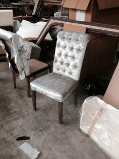 Silver deep buttoned handmade dining chair