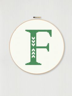 Cross stitch letter F pattern with chevron accent, instant digital download