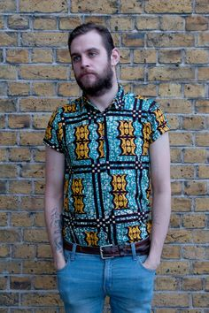 African Print Men's Slim Fit Shirt by FetchFury on Etsy, £25.00
