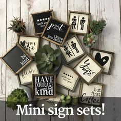 Rustic farmhouse style signs now in two sizes! Tiered tray coffee bar entry mantel bathroom signs they stand up on their own - Coffee Set - Ideas of Coffee Set - Rustic farmhouse style mini sign sets 2 3 or 4 you pick Cuadros Diy, Wood Crafts, Diy Crafts, Wood Board Crafts, Rustic Farmhouse, Farmhouse Style, Farmhouse Signs, Bathroom Signs, Funny Bathroom