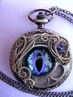 Purple Ice - Dragon Eye Pocket Watch by LadyPirotessa.deviantart.com on @deviantART