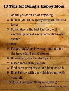 10 tips for being a happy mom