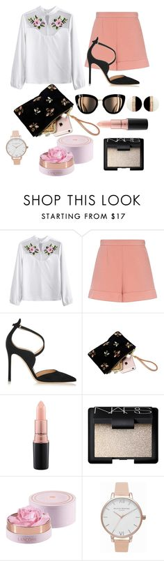 """Embroidered Shirt #1"" by vintage-v0gue ❤ liked on Polyvore featuring RED Valentino, Gianvito Rossi, MAC Cosmetics, NARS Cosmetics and Olivia Burton"