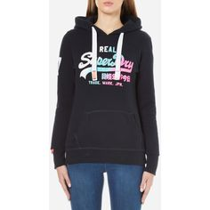 Superdry Women's Vintage Logo Duo Fade Hoody - Eclipse Navy ($57) ❤ liked on Polyvore featuring tops, hoodies, blue, superdry hoodie, navy blue tops, navy blue hoodie, navy blue top and navy hoodie