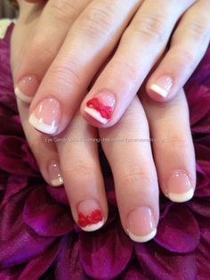 White gellish French polish with 3D acrylic bows