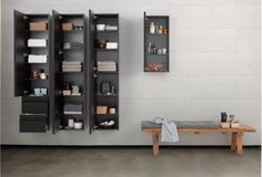 For extra storage choose from tall / mid / small cabinets which have ample space for towels, baskets, perfumes and lotions , with soft-close functionality.