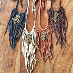 Leather Fringe Cross Statement Necklace