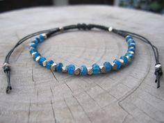 Neon apatite beaded Sterling Silver bracelet,Macrame Bracelet,macrame jewelry,macrame cord,hemp bracelet,friendship bracelet,woven bracelet