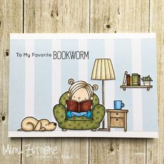 card reading book books dog critter chair lamp home MFT Die-namics My favorite things - Our story #mftstamps