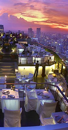 View From The Restaurant, Bangkok By Banyan Tree Bangkok.  One of the best rooftop bars in the world.