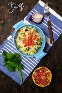Kulinarne przygody Gatity - przepisy pełne smaku: Surówka z kiszonej kapusty z granatem (dieta dr Dą...