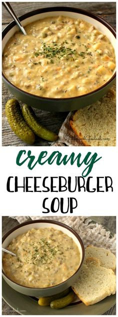 We make this creamy cheeseburger soup at least once a week in the winter! Best comfort food ever. Definitely a recipe to save for dinner. Love the pickles