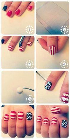 Diy Fourth of july nails♥♥