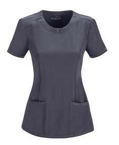 Cherokee Round Neck Top (Antimicrobial) in Pewter from Cherokee Uniforms Cherokee Uniforms, Cherokee Scrubs, Polo Shirt Outfits, Scrubs Outfit, Uniform Design, Nurse Costume, V Neck Tops, Plus Size Fashion, Work Wear