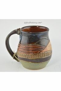 Pottery Mug with a Saying - Mountain Landscape