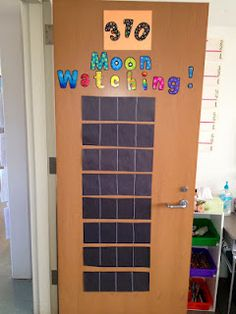 Moon phase chart! Have the kids draw the moon each night, then draw it with white crayon on the class chart!