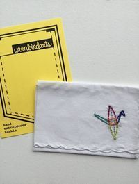 Hand Embroidered Origami Crane Hankie Peace Gift by wrenbirdarts
