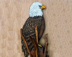 Bald Eagle wood carving, american eagle, american bald eagle, birds rapture, wildlife, bird of prey, lodge/cabin decor, rustic 28 inches