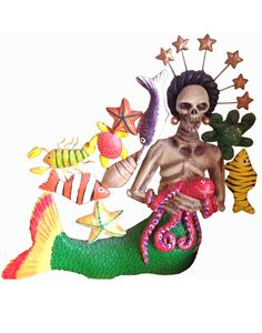 Colorful, hand-painted skeletal mermaid with a green fish-tail, surrounded by various sea-creatures. Created by Concepción Aguilar.  Price: $158.00