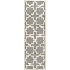 "Safavieh Cambridge Collection CAM125D Handmade Silver and Ivory Wool Area Runner, 2 feet 6 inches by 6 feet (2'6"" x 6') Safavieh http://www.amazon.com/dp/B00CM8YBBM/ref=cm_sw_r_pi_dp_wZdawb0K22J1Q"