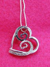 Jane Seymour Open Heart Sterling BLUE & WHITE WAVE Diamond Heart Necklace  Kay