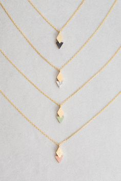 Queen of Diamonds Stone Necklace Diamond overlapping triangle stone charm necklace. Dainty Jewelry, Cute Jewelry, Jewelry Box, Jewelery, Jewelry Accessories, Fashion Accessories, Women Jewelry, Gold Jewelry, Jewelry Stores
