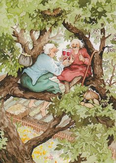 """Finnish illustrator Inge Look has created her two hilarious grannies, painted frequently in absurd but funny situations. Image Originale, Look Older, Whimsical Art, Oeuvre D'art, Old Women, Old Ladies, Lucky Ladies, Getting Old, Illustrators"
