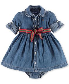Ralph Lauren Baby Girls' Denim Dress - Kids Baby Girl (0-24 months) - Macy's
