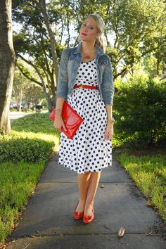 <3 polka dots black, white and red with jean jacket
