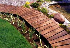 natural landscaping ideas, wooden garden paths