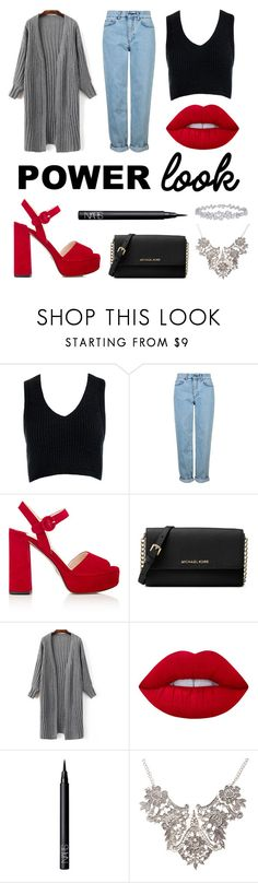 """Power look: Casual but classy"" by matildasinc ❤ liked on Polyvore featuring Sans Souci, Topshop, Prada, Michael Kors, Lime Crime, NARS Cosmetics, Harry Winston and powerlook"
