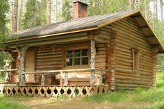 Cute log cabin Log Cabin Living, Small Log Cabin, Little Cabin, Tiny House Cabin, Log Cabin Homes, Cozy Cabin, Log Cabins, Sauna House, Hunting Cabin
